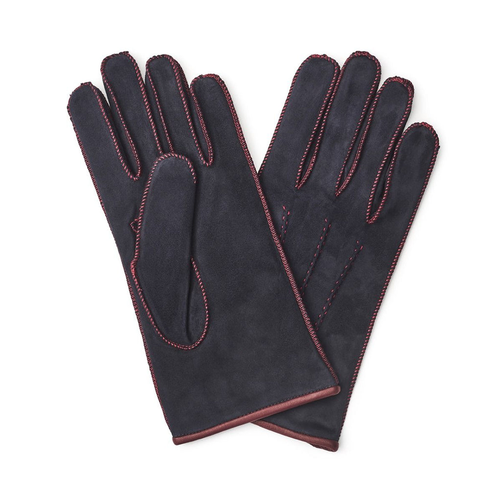 Budd Plain Suede Gloves in Blue-Gloves-Sterling-and-Burke