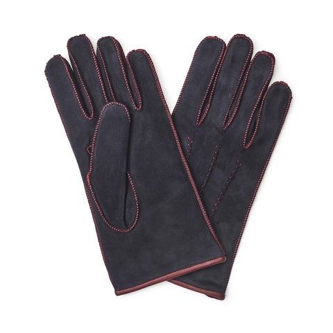 Budd Gloves | Suede Gloves | Blue | Cashmere Lining | Budd Shirtmakers | Made in England