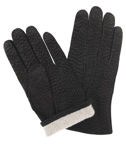Budd Buffed Hogskin Cashmere Lined Gloves in Black