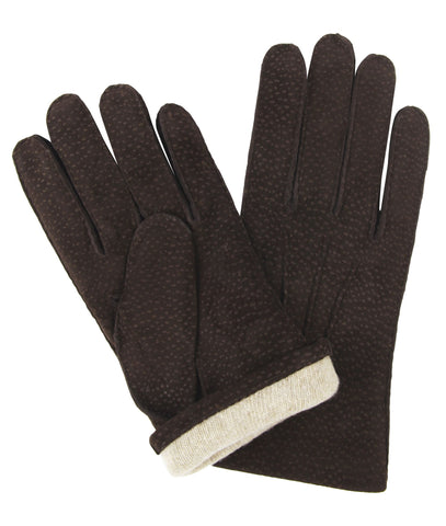 Budd Buffed Hogskin Cashmere Lined Gloves in Dark Brown-Gloves-Sterling-and-Burke