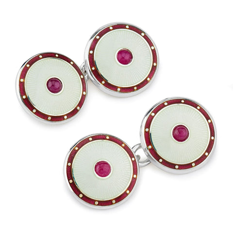 Budd Jewel Silver Domed Enamel Cufflinks in Ruby
