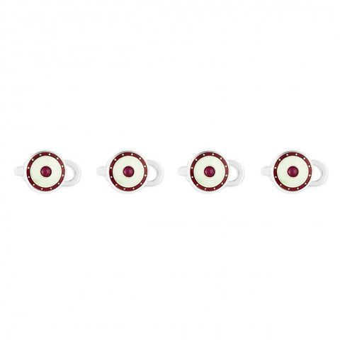 Budd Jewel Silver Domed Enamel Studs in Ruby-Cufflinks & Studs-Sterling-and-Burke