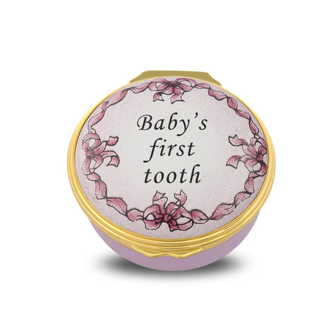Halcyon Days Baby's First Tooth Enamel Box in Pink | Sterling & Burke
