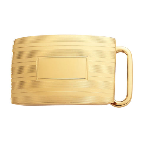Belt Buckle | Gold Plated Engine Turn Sterling Silver Buckle | Available for 1 Inch Belt Straps | Made in USA