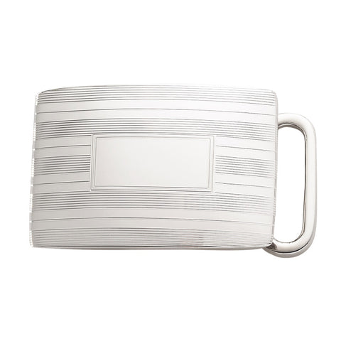 Belt Buckle | Engine Turn Sterling Silver Buckle | Available for 1 Inch Belt Straps | Made in USA