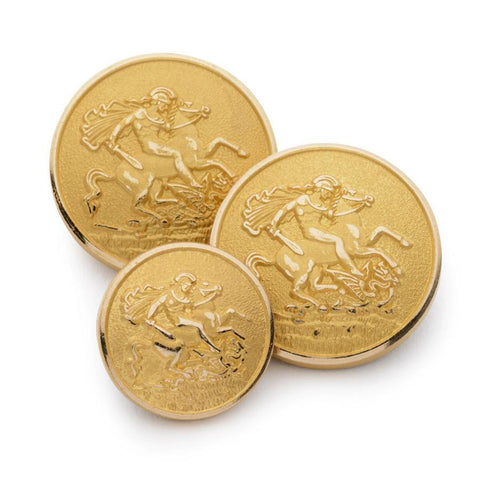 St George and The Dragon Blazer Button Set | Gold Blazer Buttons | Gold Plated | Made in UK