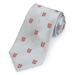 Cambridge University Crest | Grey / Silver | Silk Tie | Benson and Clegg | London-Necktie-Sterling-and-Burke
