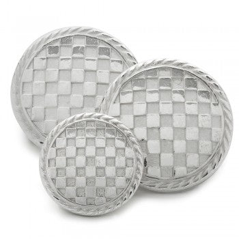 Checkerboard Blazer Button Set in Silver