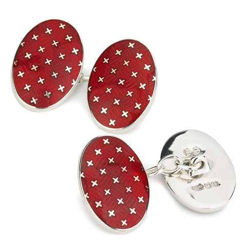 Double Sided Chain Cufflinks | Sterling Silver Patriotic Stars and Red Enamel | Benson and Clegg-Cufflinks-Sterling-and-Burke