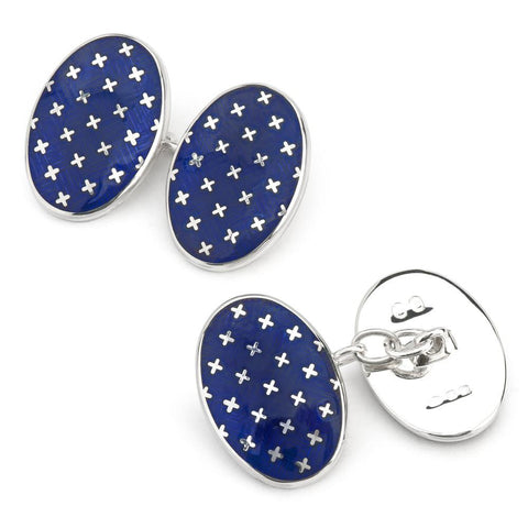 Double Sided Chain Cufflinks | Sterling Silver Patriotic Stars and Navy Blue Enamel | Benson and Clegg-Cufflinks-Sterling-and-Burke