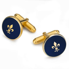 Fleur de Lys | Enamel Cufflinks | Navy | Made in England | Benson and Clegg-Enamel Cufflinks-Sterling-and-Burke