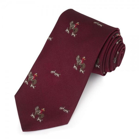 Horse and Hounds Motif | Burgundy | Woven Silk Tie | Benson and Clegg | London