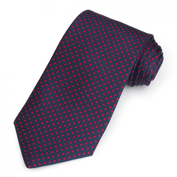 Printed Red Spot On Navy | Silk Twill Tie | Benson and Clegg | London-Sterling-and-Burke