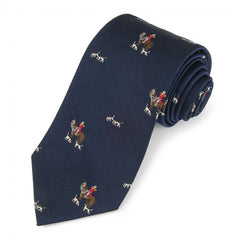 Horse and Hounds Motif, Navy | Woven Silk Tie | Benson and Clegg | Made in England-Necktie-Sterling-and-Burke