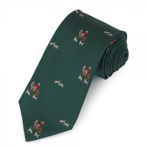 Horse and Hounds Motif | Green | Woven Silk Tie | Benson and Clegg | London