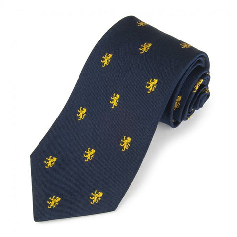 Rampant Lion, Navy with Gold | Silk Tie | Benson and Clegg | Made in England-Necktie-Sterling-and-Burke