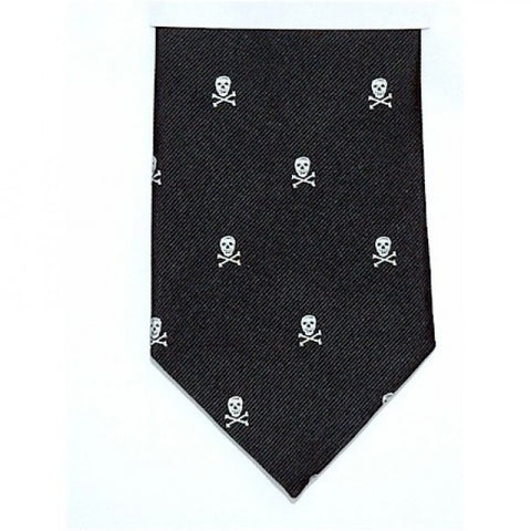 Skull & Crossbones Silk Tie, Silver & Black-Necktie-Sterling-and-Burke