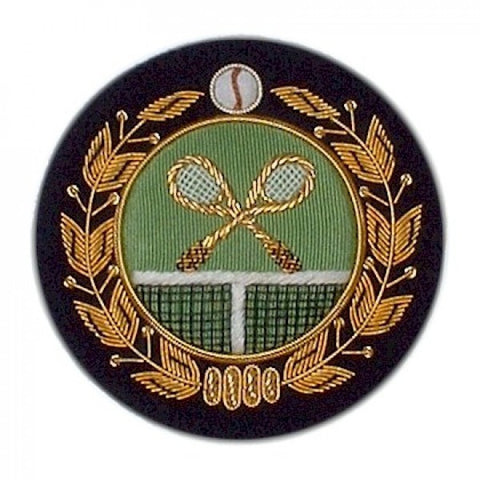Tennis Blazer Badge | Gold, Green, and Navy Tennis Racket Blazer Badge | Made in England | Sterling and Burke
