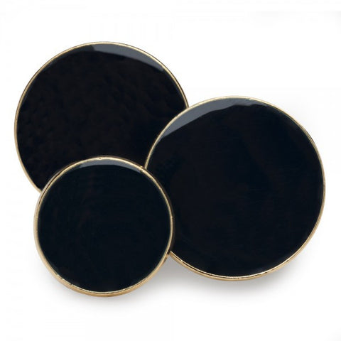 Navy Enamel Single Breasted Blazer Button Set