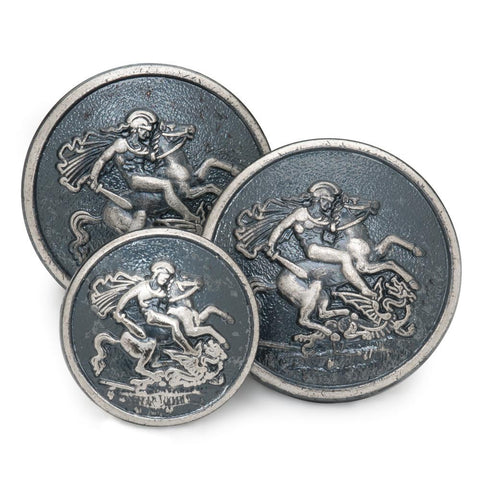 St George & The Dragon Blazer Button Set | Double Breasted Blazer Buttons | Antique Silver | Made in UK