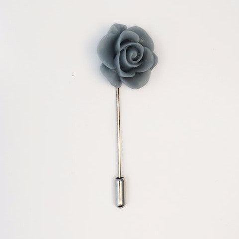 Flower Lapel Pin | Blue Grey Floral Lapel Pin | Matte Finish Lapel Pin | Hand Made in USA-Lapel Pin-Sterling-and-Burke