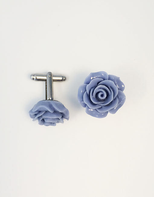 Flower Cufflinks | Blue Floral Cuff Links | Polished Finish Cufflinks | Hand Made in USA-Cufflinks-Sterling-and-Burke