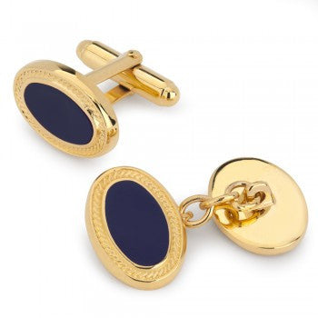 Oval Enamel Navy with Gold Filigree T-Bar Cufflinks-Enamel Cufflinks-Sterling-and-Burke