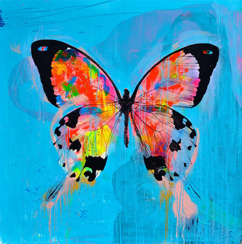 BESPOKE ORDER | Butterfly Pop Art | Original Painting on Canvas | Day Dreaming Flyer | 51 by 51 inches | Artist: Shane Bowden-Acrylic Painting-Sterling-and-Burke