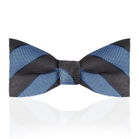 Budd Tie Broad Stripe Jacquard Silk Thistle Bow Tie in Various Colors-Bow Tie-Sterling-and-Burke