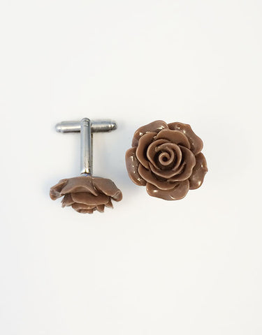 Flower Cufflinks | Brown Floral Cuff Links | Polished Finish Cufflinks | Hand Made in USA-Cufflinks-Sterling-and-Burke
