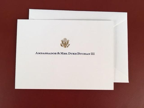 Bespoke Proof | Bahrain Embassy Stationery | Gift Card Only | Gold Seal and Text on Gift Card Only | Hand Engraved | Sterling and Burke Ltd-Custom Stationery-Sterling-and-Burke