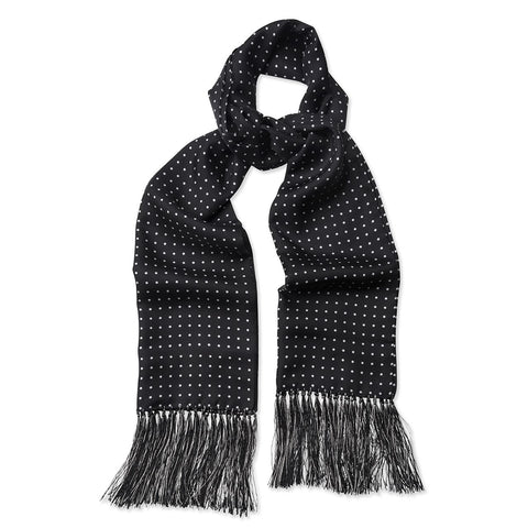 Budd Scarf Atkinson Spot Silk Scarf in Black and White