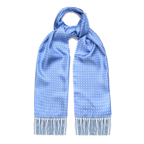 Budd Scarf | Tuxedo Scarf | All Silk | Atkinson Silk Formal Wear Scarf | Blue and White | Budd Shirtmakers | Made in England