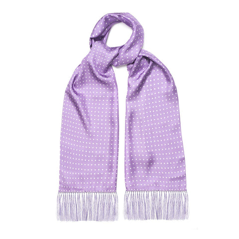 Budd Atkinson Spot Silk Scarf in Lilac and White-Scarf-Sterling-and-Burke