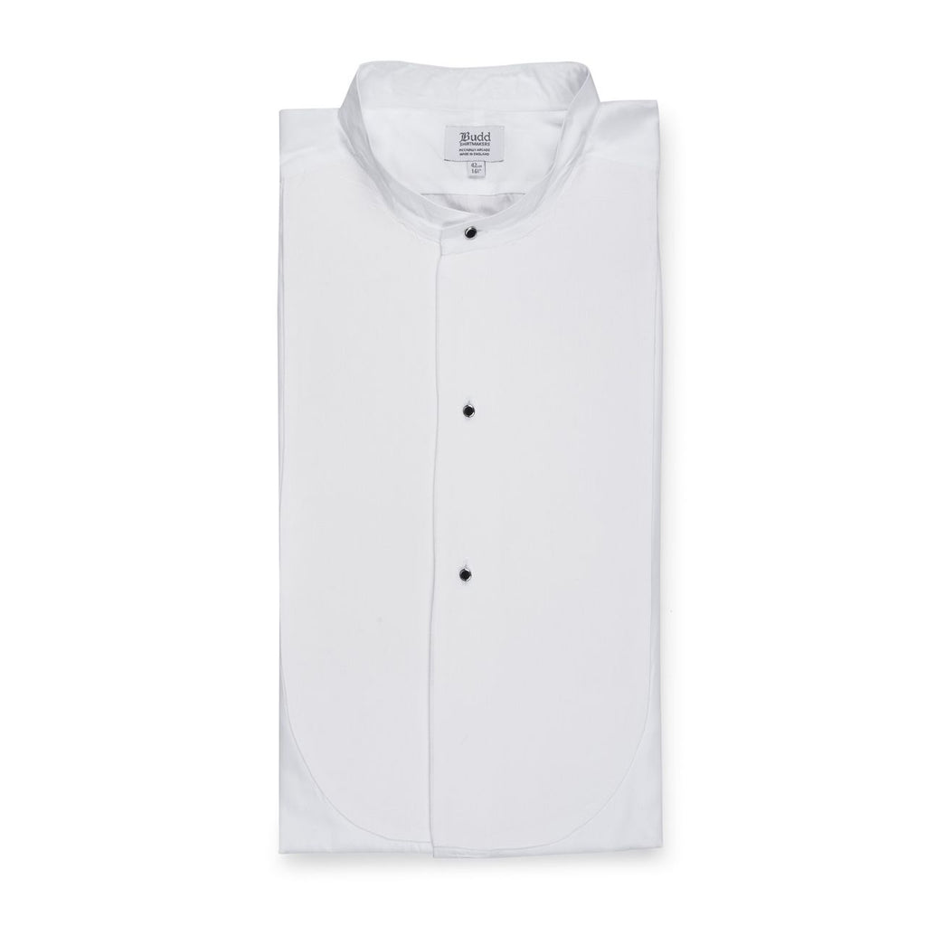 Budd Classic Fit Plain Stiff Bib Neckband Dress Shirt in White-Dress Shirt-Sterling-and-Burke