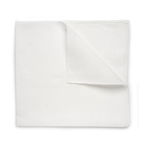 Budd 100% Plain Batiste Cotton Handkerchief in White-Pocket Square-Sterling-and-Burke