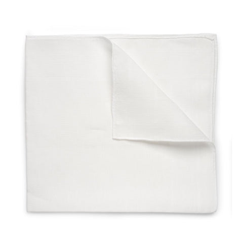 Budd 100% Plain Batiste Cotton Handkerchief in White