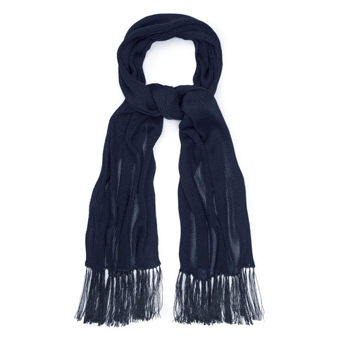 Budd Plain Knitted Silk Dress Scarf in Navy