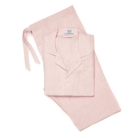 Budd Plain Linen Men's Pajamas in Pink and White-Pajamas-Sterling-and-Burke