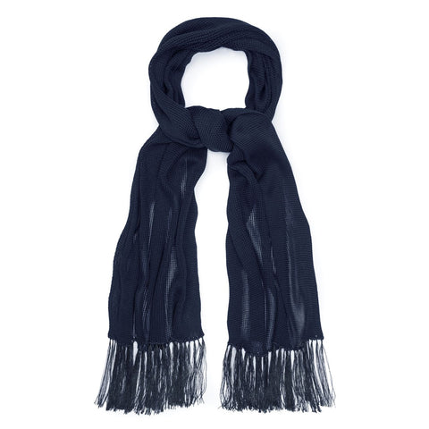 Budd Plain Knitted Silk Dress Scarf in Royal