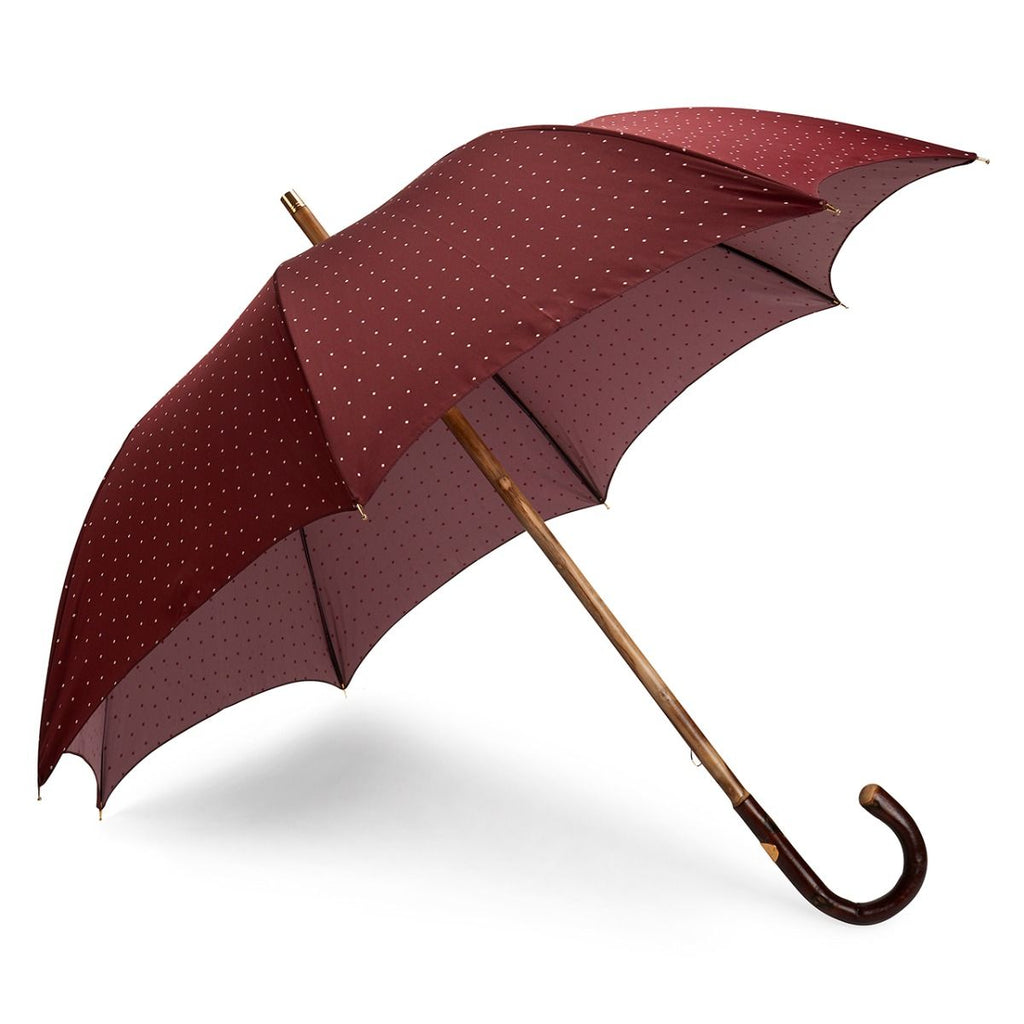 Polka Dot Poly-Cotton Umbrella in Burgundy and Pink-Umbrella-Sterling-and-Burke