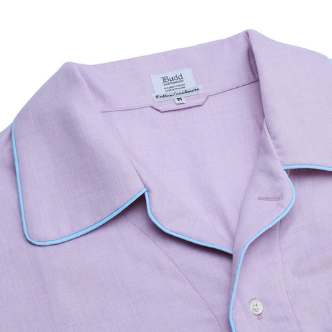 Budd Sleepwear | Cotton and Cashmere Herringbone Nightshirt | Lilac | Budd Shirtmakers | Made in England-Nightshirt-Sterling-and-Burke
