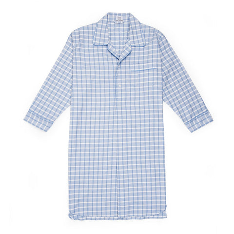 Budd Sleepwear | Large Check Cotton and Cashmere Nightshirt | Sky Blue | Budd Shirtmakers | Made in England