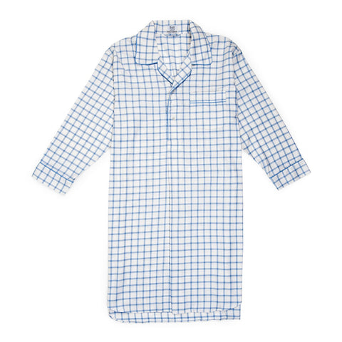 Budd Sleepwear | Large Check Cotton and Cashmere Nightshirt | White | Budd Shirtmakers | Made in England