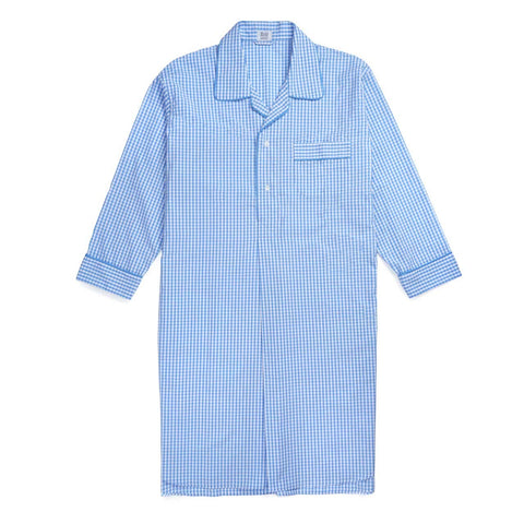 Budd Sleepwear | Gingham Seersucker Nightshirt | Sky Blue | Budd Shirtmakers | Made in England