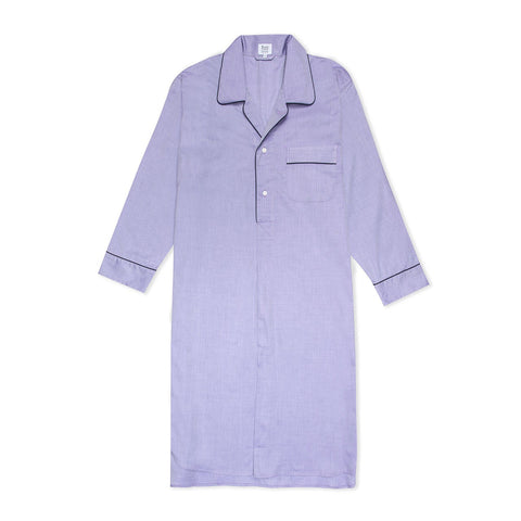 Budd Sleepwear | Herringbone Cotton Nightshirt | Purple | Budd Shirtmakers | Made in England