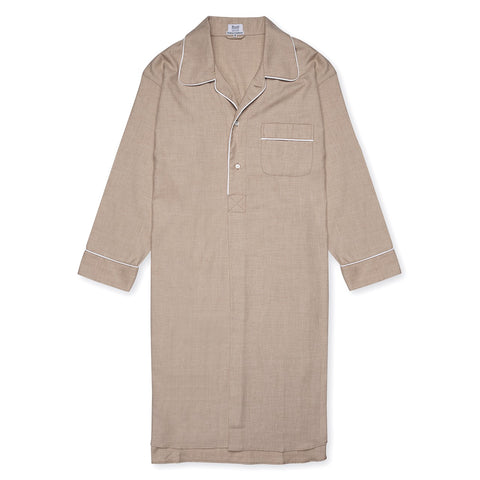 Budd Sleepwear | Cotton and Cashmere Herringbone Nightshirt | Camel | Budd Shirtmakers | Made in England