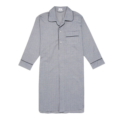 Budd Sleepwear | Prince of Wales Check Brushed Cotton Nightshirt | Navy | Budd Shirtmakers | Made in England