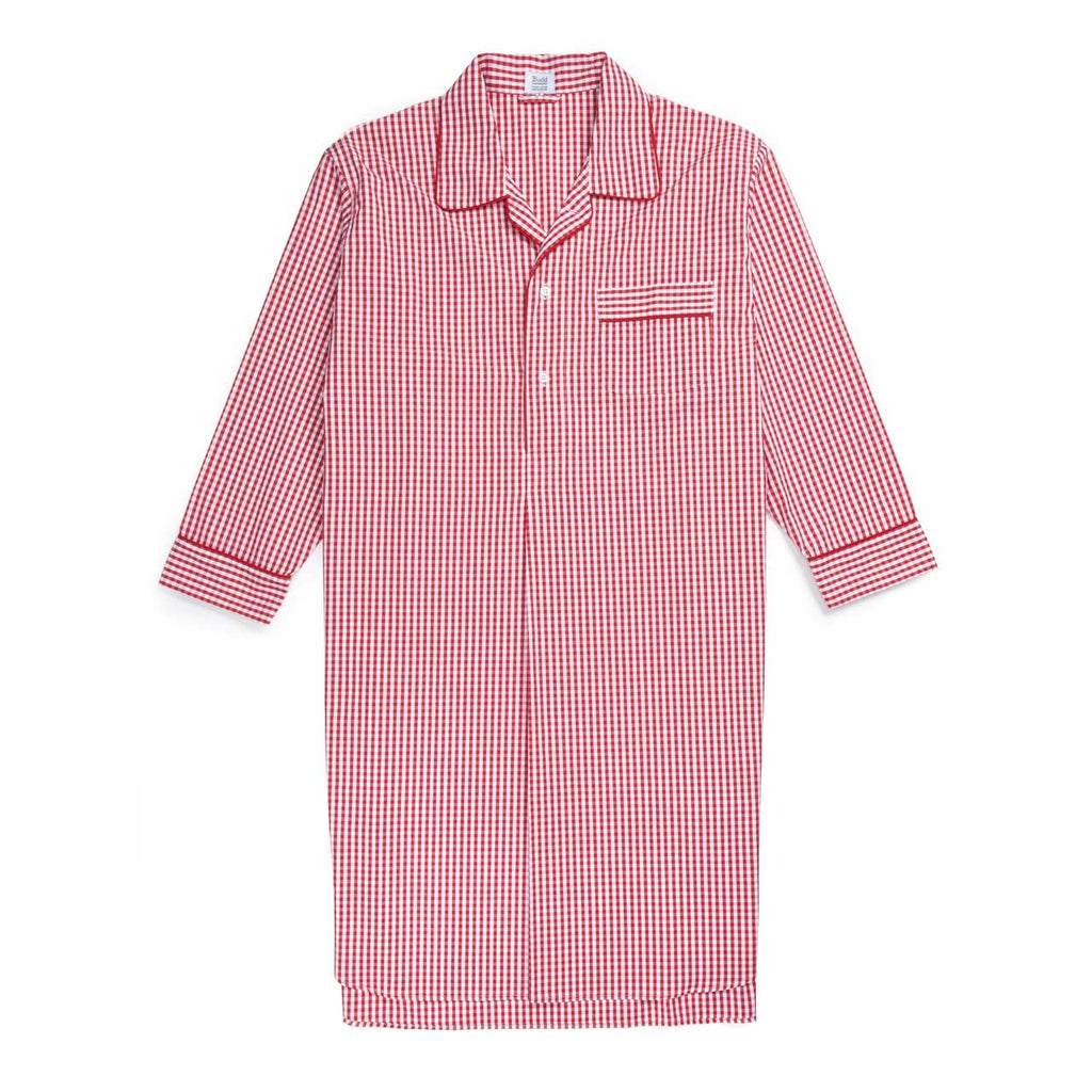 Budd Sleepwear | Gingham Seersucker Nightshirt | Red | Budd Shirtmakers | Made in England-Nightshirt-Sterling-and-Burke
