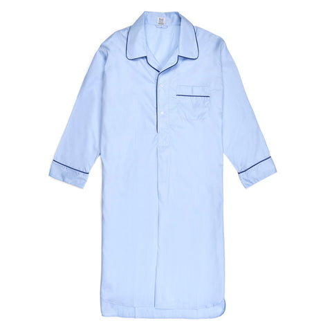 Budd Sleepwear | Exclusive End on End Sea Island Cotton Nightshirt | Sky | Budd Shirtmakers | Made in England
